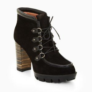 BCBGMaxAzria Bambina Suede Lace Up Heeled Booties